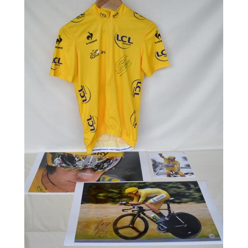 30 - 2012 Tour de France replica yellow jersey signed by Bradley Wiggins and three signed limited edition...