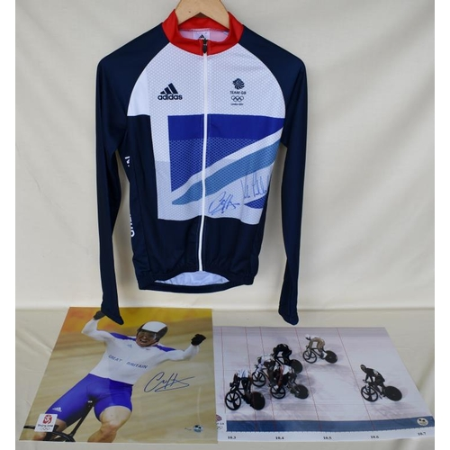 4 - Signed Team GB cycling jersey and 1 signed Limited Edition photograph of Chris Hoy and one photograp...