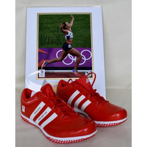 40 - Pair of Limited Edition 8/12 commemorative high jump spikes size 6 1/2 Limited Edition framed photog...