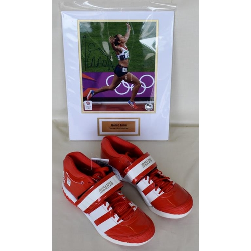 41 - Pair of Limited Edition 8/12 commemorative javelin spikes size 7 1/2. Limited Edition framed photogr...