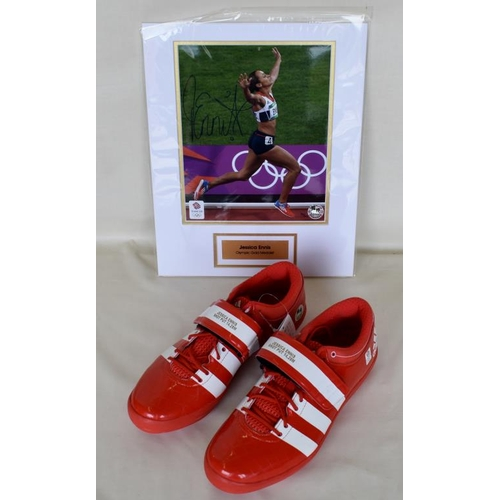 42 - Pair of Limited Edition 7/12 commemorative shot put shoes size 7 1/2. Limited Edition framed photogr...