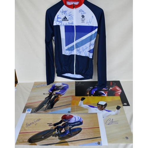 45 - Signed Team GB cycling jersey and four signed Limited Edition photographs of Chris Hoy and Laura Tro...