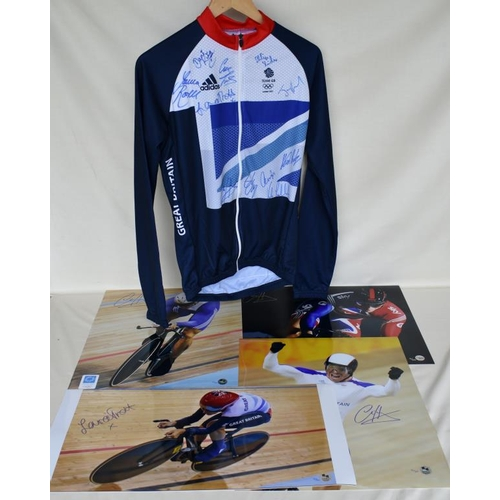 46 - Signed Team GB cycling jersey and four signed Limited Edition photographs of Chris Hoy and Laura Tro...