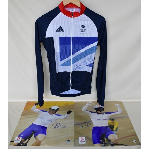 5 - Signed Team GB cycling jersey and 2 signed Limited Edition photographs of Chris Hoy and Victoria Pen...
