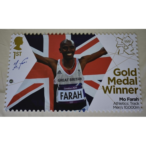 55 - Mo Farah 10,000m Limited Edition 1st class Royal Mail stamp 2/12  a scaled-up version of the actual ...