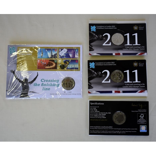57 - Three commemorative £5 London 2012 countdown coins, a crossing the finish line £5 coin and a £2 hand...