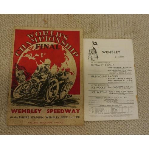 24 - 1938 Speedway World Finals programme. Wembley...