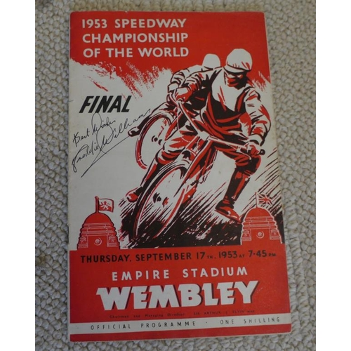 28 - 1953 Speedway Championship Of The World Final programme x2 Signed by Freddie Williams (Winner)...
