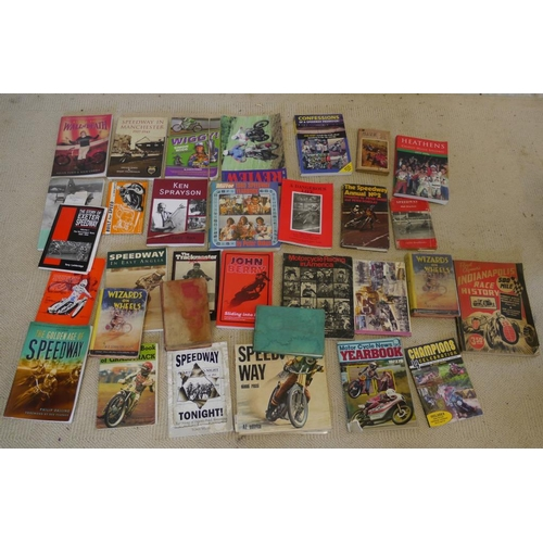 37 - Large quantity of speedway books including John Berry, Built For Speedway and Speedway Tonight...