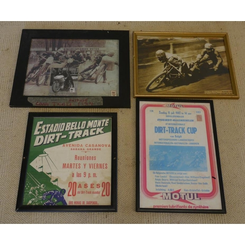 42 - 2 Framed photos of Long track and Dirt track racing 1930's-50's. 2 Framed posters, 1 of Dirt track c...