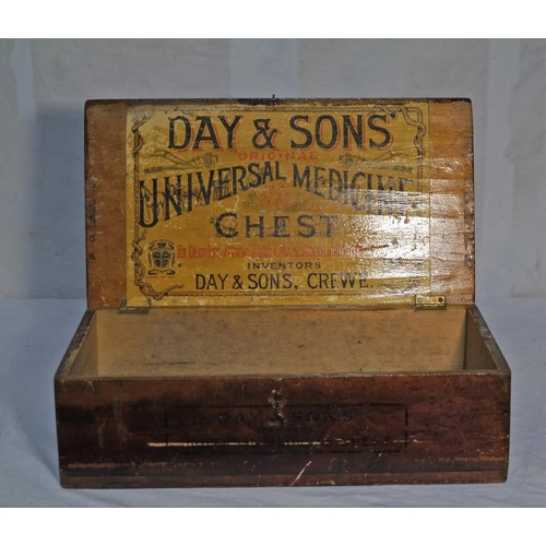 14 - Pine stained box. Day & Sons, Crewe. Universal medicine chest 17