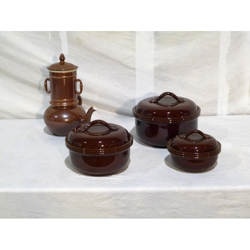 24 - 3 Lidded oven dishes, Pearson, and tea pot...