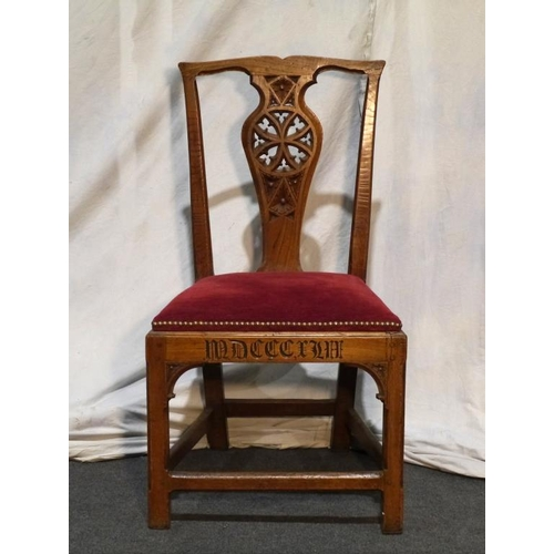 42 - Elm gothic style chair with upholstered seat...