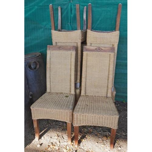 17 - 6 Rush seat high back chairs...
