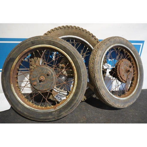 34 - 2 Tiger cub and 1 BSA wheels and tyres...