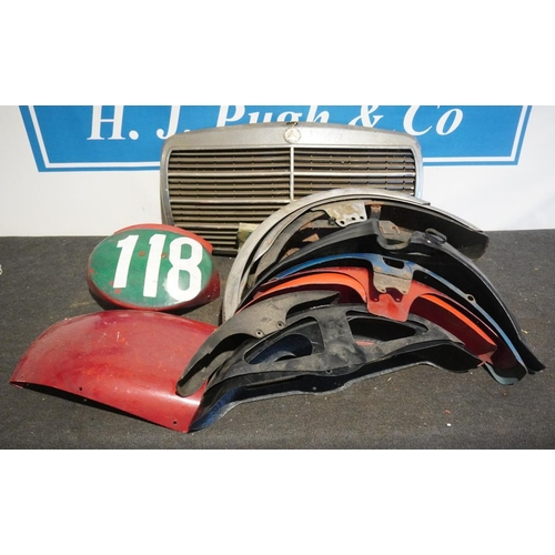 57 - Large quantity of mudguards and Mercedes front grill...