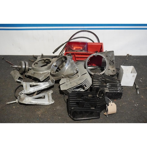 59 - Box of Italian motorcycle parts including barrels and crank...