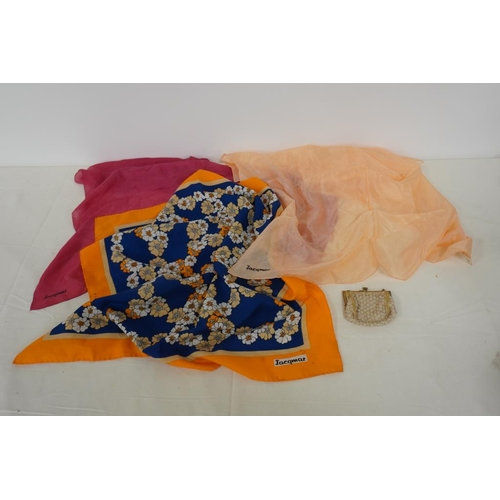 1 - 3 Assorted Jacqmar scarves and beaded purse...