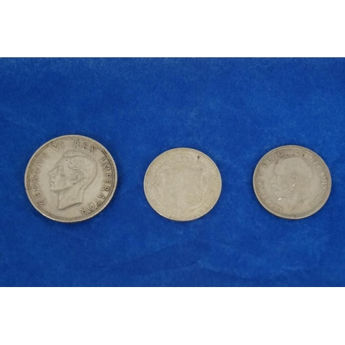 10 - 2 George V half crowns. 1916/17 and 1 George VI 1947 silver 5 shilling coin...