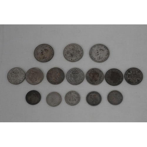 11 - 15 Pre 1947 silver coins to include 5 shillings, 3 half crowns and 7 florins...