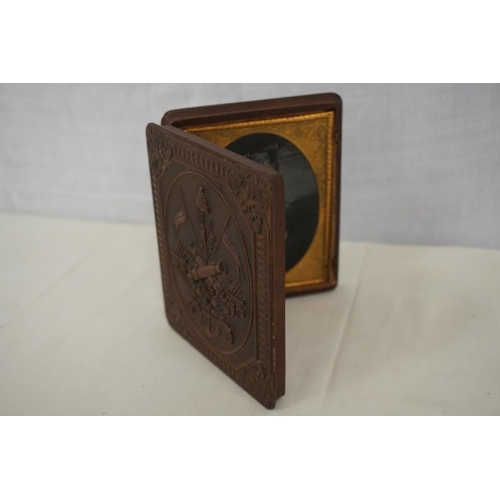 14 - Carved Wooden photo case...