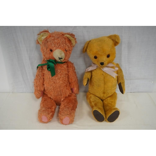 26 - Old fully jointed teddy bear with growler and pink/white jointed bear...