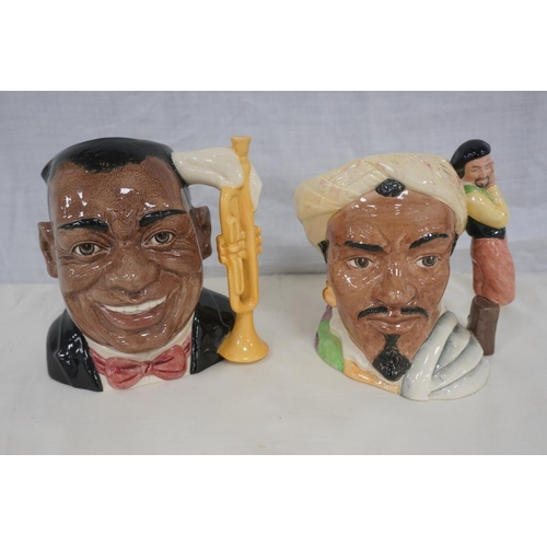 27 - 2 Royal Doulton toby jugs to include Othello and Louis Armstrong...