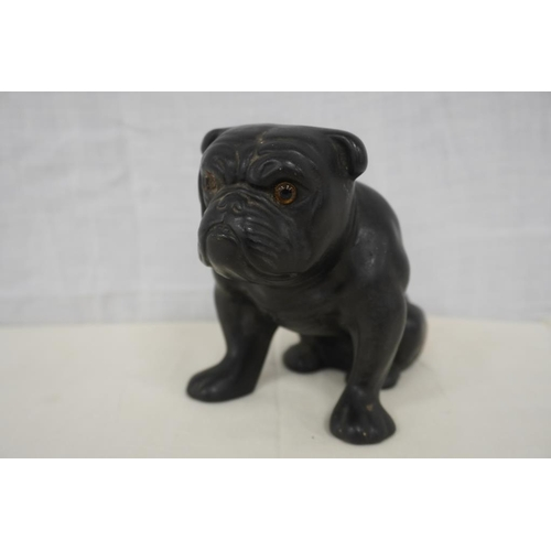 28 - Black bulldog figurine (one eye missing) possibly Beswick...