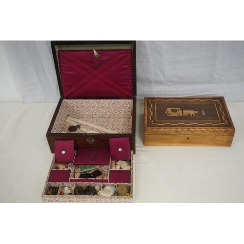 34 - Victorian inlaid wooden box and Victorian wooden sewing box...