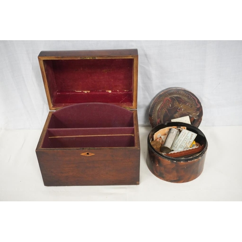 43 - Round oriental lacquered box containing sewing items and mahogany box...
