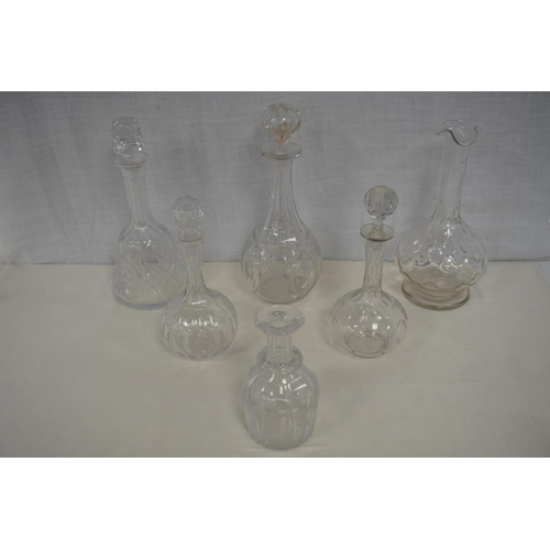 48 - 6 Mostly 19th Century decanters,  4 with stoppers....