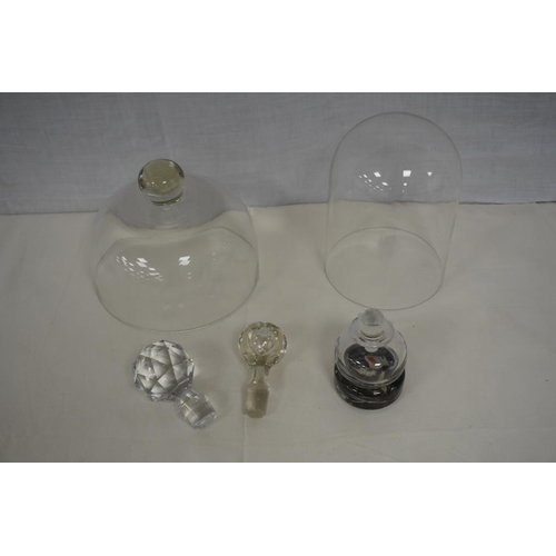 50 - 2 Glass domes, 2 spare stoppers and modern glass perfume bottle...