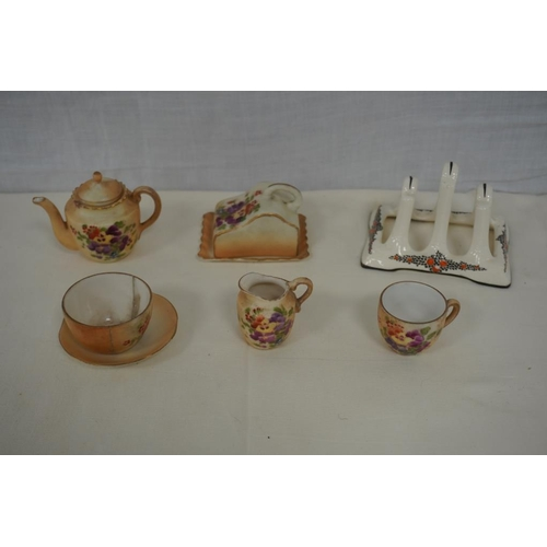 53 - 1930's Ducal toast rack and miniature tea set to include tea pot, jug, sugar bowl and cheese dish...
