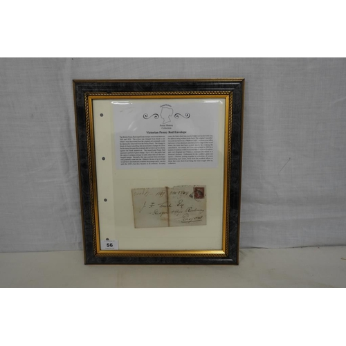 56 - Framed envelope from 1849 with penny red stamp attached...
