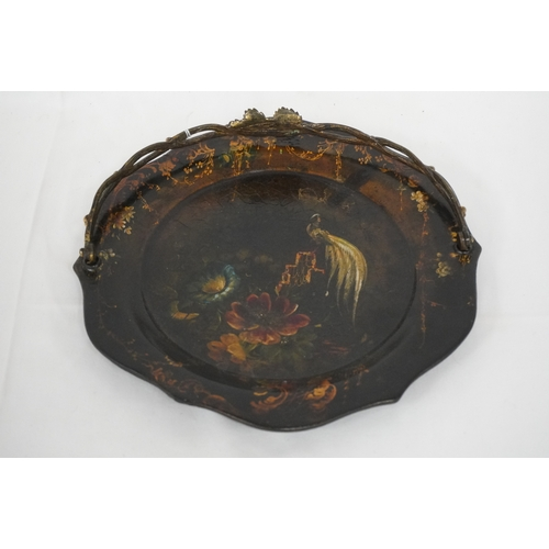 55A - Betteridgeware handled painted paper mache plate early 19thC...