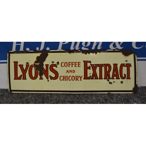 13 - Enamel sign- Lyons coffee and chicory extract 35x12