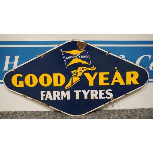 17 - Enamel sign - Goodyear Farm Tyres, double sided   19x36