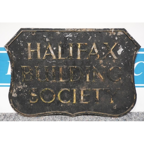 19 - Cast aluminium sign - Halifax Building Society,  double sided 23x32