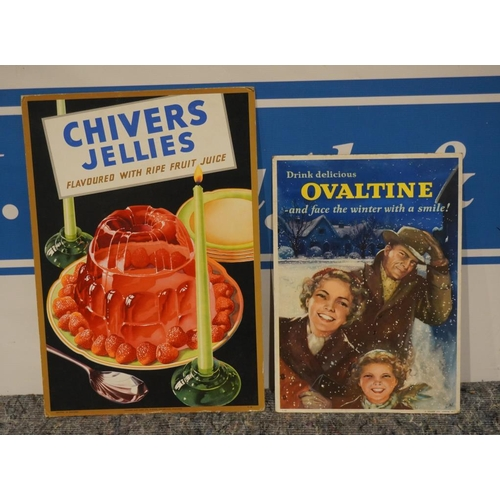 2 - 1950's Advertising showcards for Chivers jellies and Ovaltine...