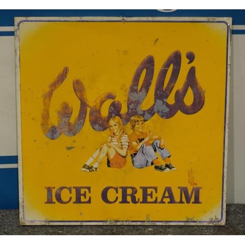 25 - Walls ice cream aluminium sign 21x21