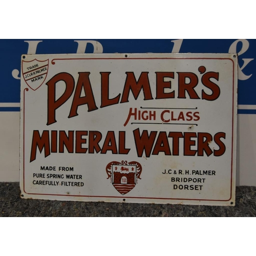 28 - Enamel sign- Palmers high class mineral waters 21x14 1/2