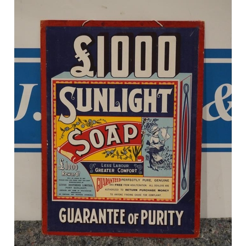 3 - Sunlight soap £1000 guarantee of purity advertising showcard...