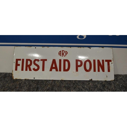 30 - Enamel sign- First Aid Point (red lettering) 27x9