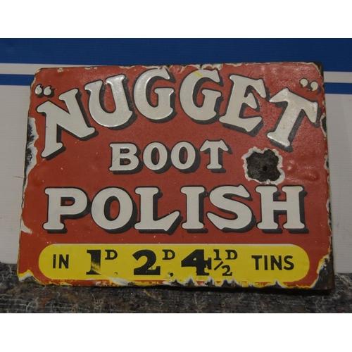 31 - Enamel sign- Nugget boot polish (bracket type) (double sided) 12x9