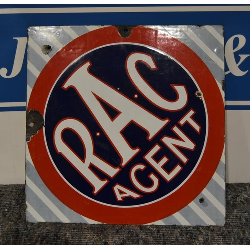 32 - Enamel sign- RAC Agent double sided 18x18