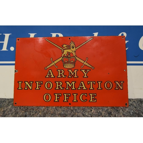 33 - Enamel sign- Army Information Office 24x15