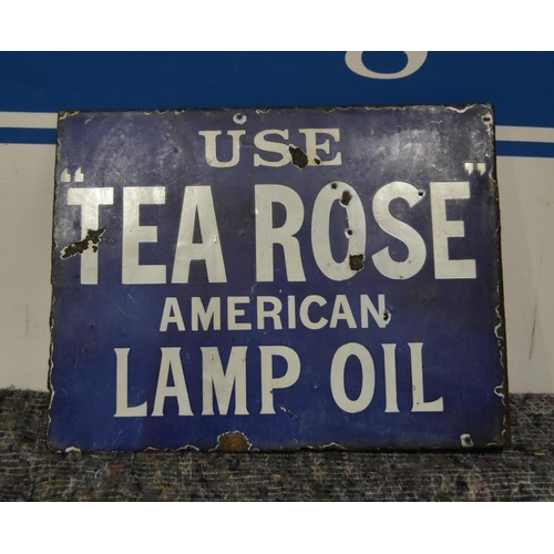 36 - Enamel sign- Tea Rose lamp oil (bracket type) (double sided) 13x10