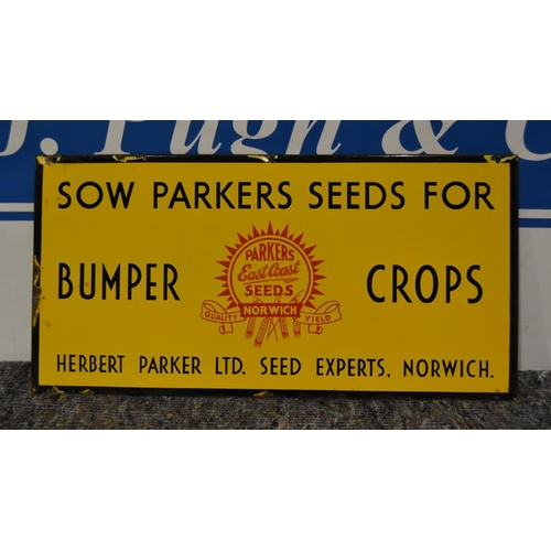 43 - Enamel sign- Sow Parkers Seeds of Norwich 24x12