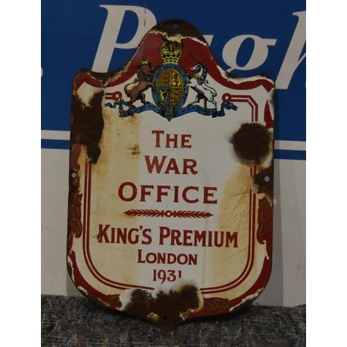 44 - Enamel sign- The War Office 1931 10x15