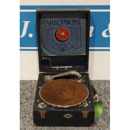 47 - Waverley portable wind up gramophone...